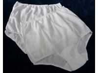 3 Pair White Size 8 Assorted Nylon Tricot Brief Panty USA Made Roses CLOSE OUT!
