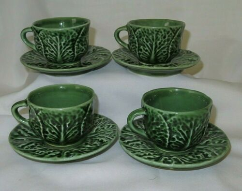 Bordallo Pinheiro Green Cabbage Demitasse Espresso Cup & Saucer 4 Sets Portugal