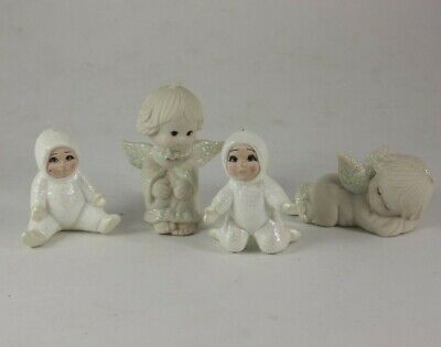 Snow Babies Christmas tree ornaments And Snow Angels Lot of 4 Ceramic