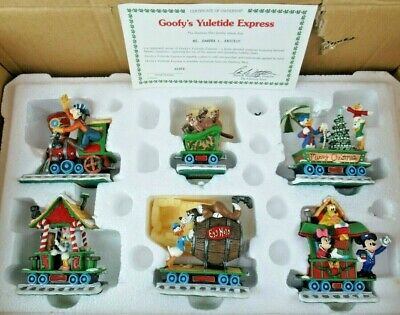 DANBURY MINT DISNEY GOOFY'S YULETIDE EXPRESS TRAIN ORNAMENTS SET IN BOX w/CERT