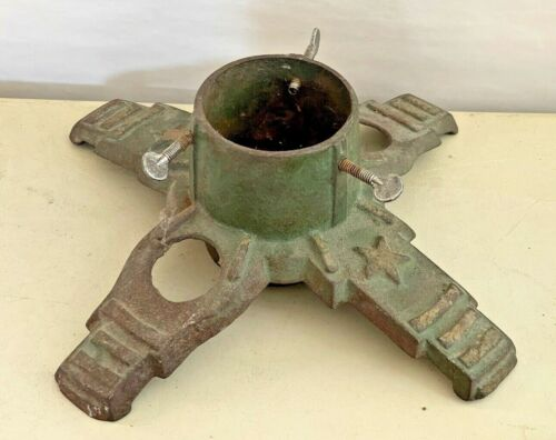 Antique Cast Iron Christmas Tree Stand, Green with Star Designs