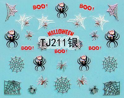 Halloween Silver Black Spiders White Spider Webs BOO! 3D Nail Art Sticker - White Halloween Nails