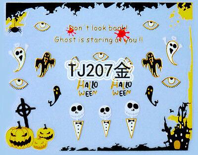 Halloween GOLD Pumpkin Ghost Eyes Castle Skulls 3D Nail Art Sticker Decals