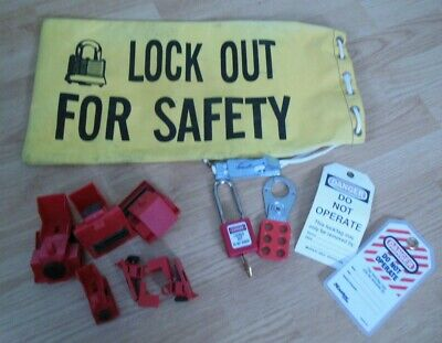 Master Brady Lockout Kit Bag Lock Hasp Circuit Breaker Clamp Tag Lot 12pc