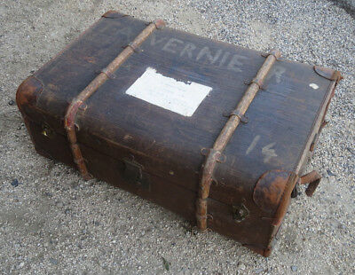 Antigua Caja de Viaje Alemán German Trunk Mädler Maleta Vintage Madera Cuero