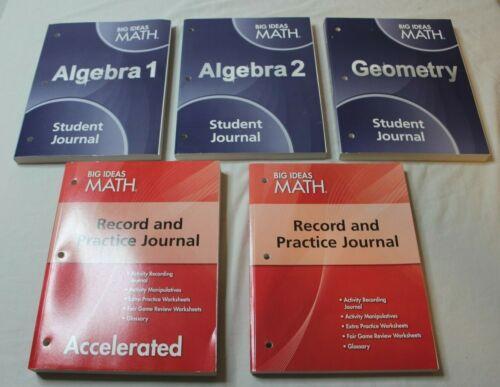 Lot 5 Big Ideas Math Geometry Algebra 1 2 Course 2 Student Journals Books New
