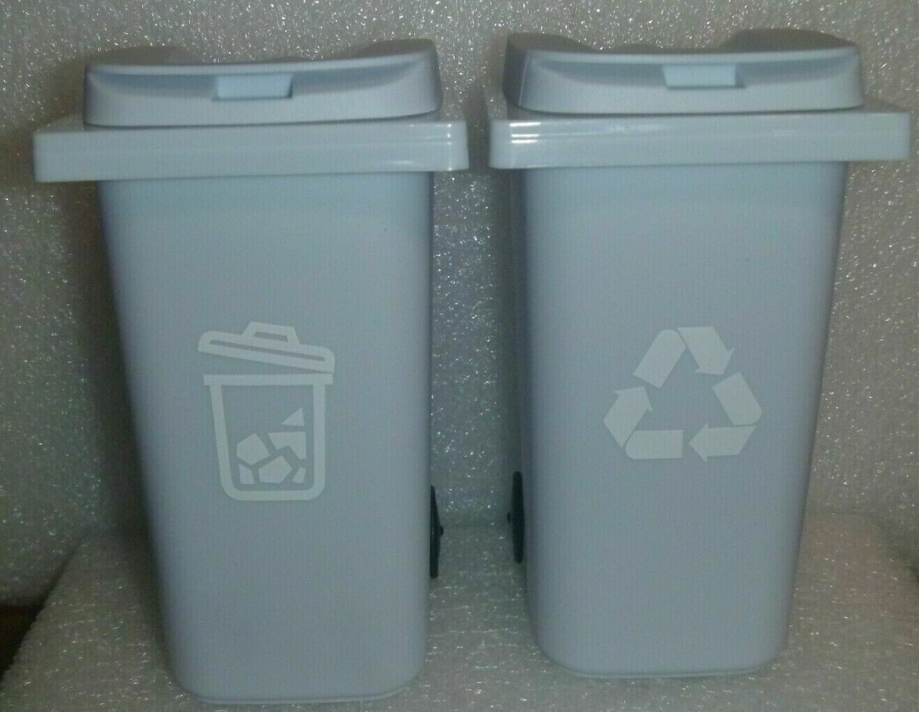 Trash /Garbage/ Recycle Cans With Lid on Wheels Gray Pencil