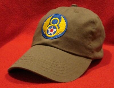 Wwii Ball Cap - WWII U.S Eighth 8th Air Force emblem Aviator BALL CAP, OD green low-profile hat