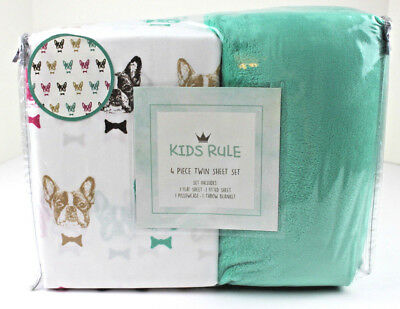 Kids Rule Twin 4 pc Sheet Set Plush Blanket French Bull Dog in Bow Ties New