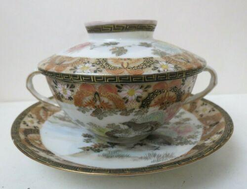 Antique Japanese Satsuma Eggshell Porcelain Bowl Cup Saucer w Lid Signed