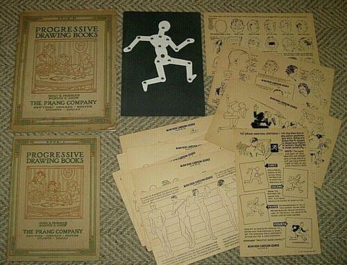 Vintage 1910-20  Prang Progressive Drawing Books + 1940 Manikin Cartoon Course