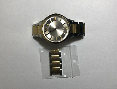 PRE-OWENED EMPORIO ARMANI AR2449 MENS TWO TONE WATCH.