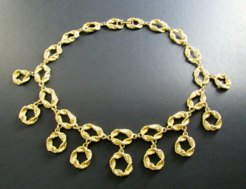 """VINTAGE STYLE GOLD TONE 16"""" NECKLACE CHOKER DANGLING CHARMS (D12)"""
