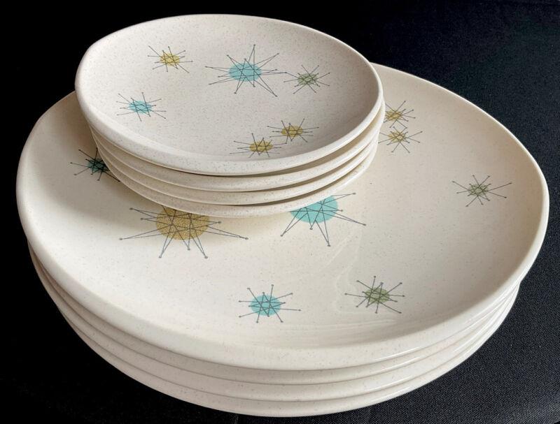 (Set of 8) FRANCISCAN ATOMIC STARBURST PLATES 1954-58 MARK, 4 Dinner, 4 B & B