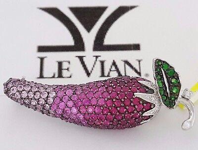 LeVian 4.74 ct 14K Gold Round Diamond Ruby Sapphire Chili Pepper Brooch / Pin