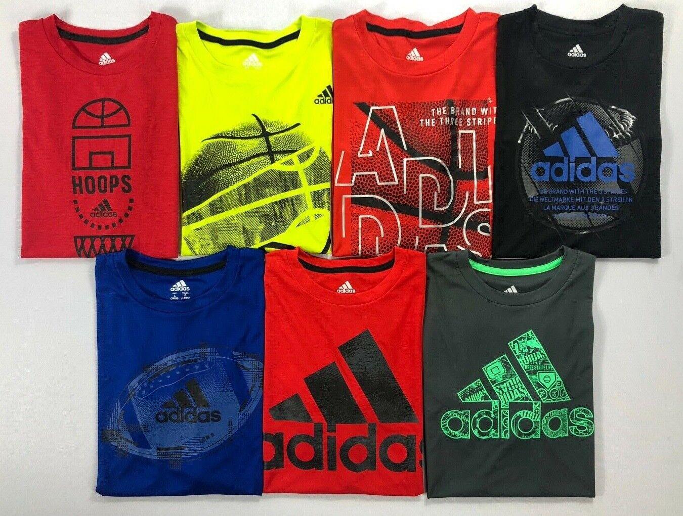 Boy's Youth Adidas Climalite Polyester Short Sleeve Shirt