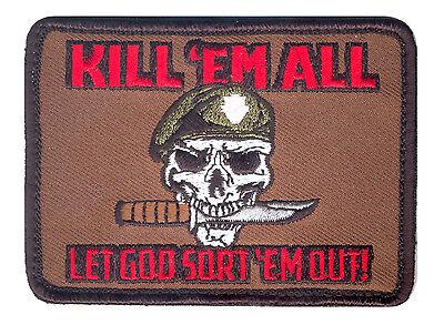 "Rothco 73197 Kill 'Em All Skull w/Knife Morale Patch w/Hook Back 3-1/2"" X 2-1/2"""
