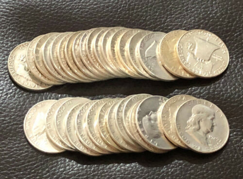 TEN 90% US 50C Silver Franklin Half Silver Dollars, $5 Face Value