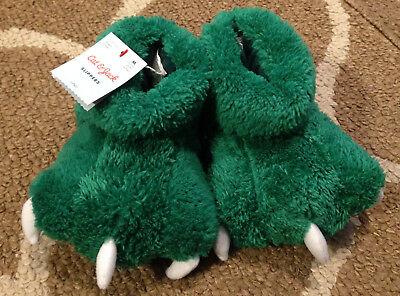 Boys Size 2T-3T Cat & Jack Green Monster Feet Fuzzy Slippers New