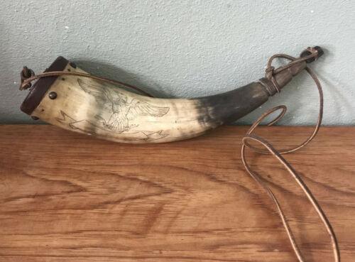 Old Scrimshawed & carved Black Powder Horn  Eagle Design.