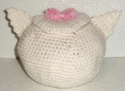 """Crochet Candy Dish Bowl Trinket Hand Made in USA White Cat 4.5"""" By 6"""""""