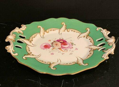 Antique English Porcelain Green Pierced Floral & Gold Design Oval Platter