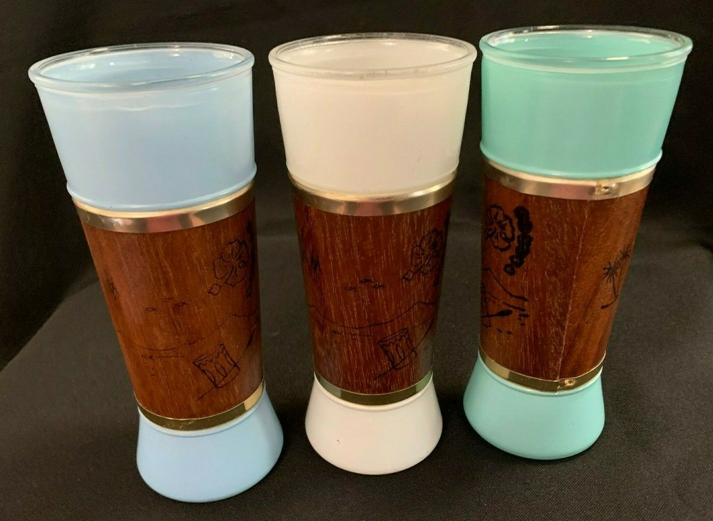 Set Of 3 Vintage Tiki Frosted Glasses Wood Veneer Wrap W/Tropical Designs Siesta - $14.99