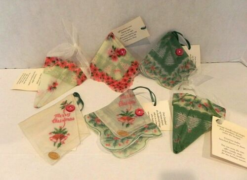Lot of 6 Vintage CHRISTMAS HANKIE Handkerchief Holiday Ornaments New!