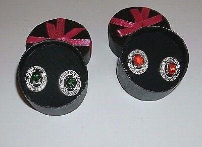 Red or Green Earrings Wear Stud Alone or with Rhinestone Jacket Avon in Gift Box Green Stud Earring Box