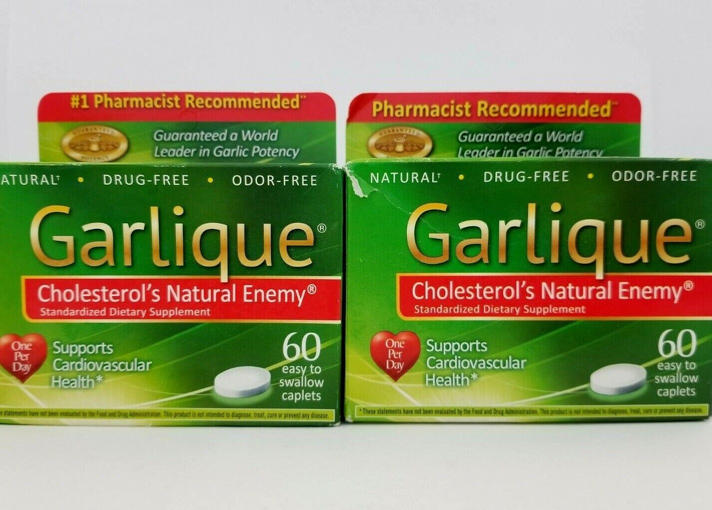 Garlique Cholesterol's Natural Enemy Cardiovascular Health 60 Caplets (2 Pack)