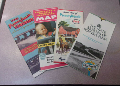 Vintage Lot of (4) Pennsylvania Turnpike Highway Road Maps / Pa. 50th Ann ESSO