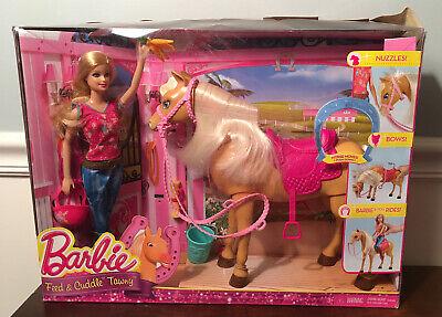 BARBIE * FEED & CUDDLE TAWNY * HORSE & DOLL PLAYSET *