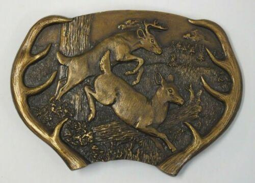 Vintage Bergamot Brass Works Belt Buckle Whitetail Deer Buck Doe Y-144 USA 1977