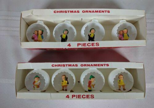 8 Vintage Jewel Brite White Plastic Diorama Round Christmas Ornaments Children