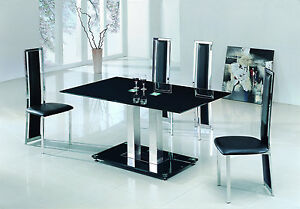 savio small glass chrome dining room table and 4 chairs set 120 cm