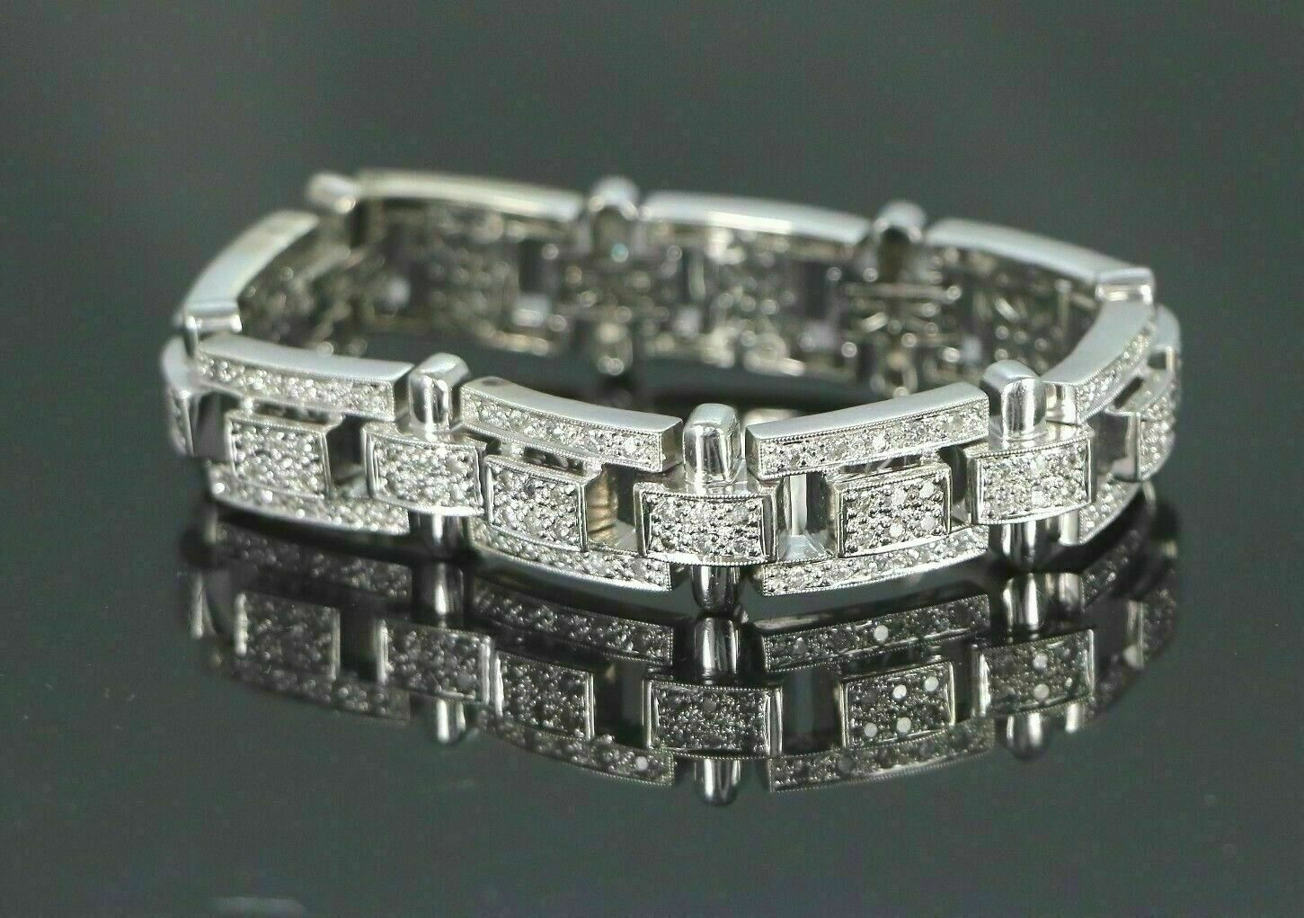 13.25Ct Round Cut Diamond 14K White Gold Over Men's Exclusive Tennis Bracelet 4