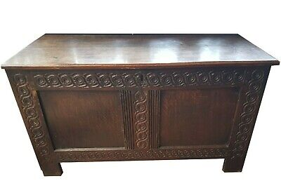 Antique 18/19th.c. Oak Coffer / Blanket Box with candle box