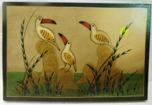 VINTAGE TONALA MEXICAN LACQUER PAINTED PICTURE - SIGNED SALAZAR G