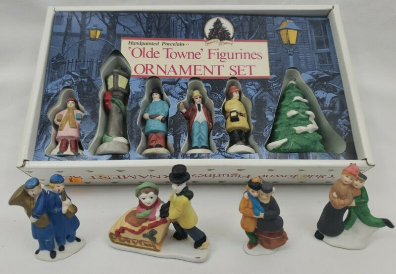 Dynasty Classics Olde Towne Figurines Porcelain Ornament Set of 6 plus 4 Extra