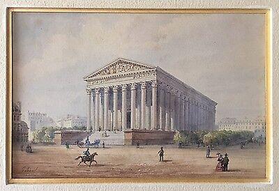"""GOBAUT Gaspard (1814-1882) """" L'église de la Madeleine à Paris, 28 octobre 1857 """""""