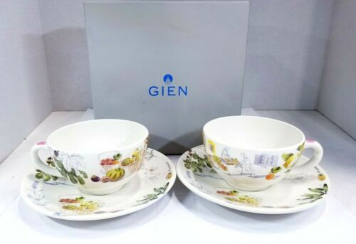 SET OF GIEN BREAKFAST CUP & SAUCERS - PROVENCE