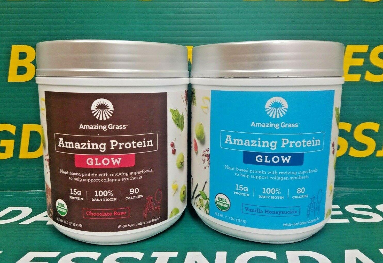 Amazing Grass GLOW Organic Vegan Protein Chocolate or Vanilla Expired 1/21