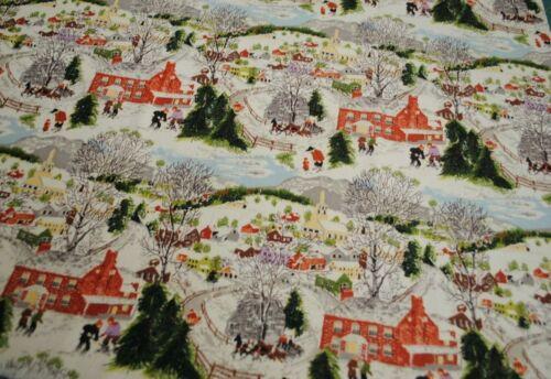 """Grandma Moses Barkcloth """"DEEP SNOW """" Barkcloth Fabric sewbuzyb"""