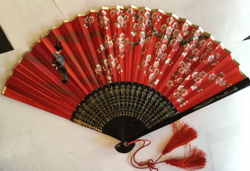 Gorgeous Vintage Lacquer Handpainted Silk Hand Fan, Pierced Spokes