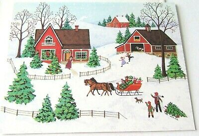 Vintage Christmas Card Old Fashioned Sleigh Ride to Farm House Barn Tree People ()