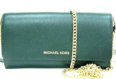 Michael Kors Large Multifunction Wallet With Chain Racing Green Leather NWT $178