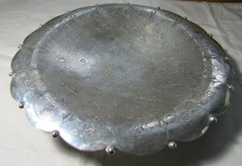 "ITALIAN 800 SILVER ROUND FOOTED SERVING TRAY PLATTER 11 3/4""15.13 TOZ ROSE MOTIF"