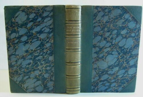 RARE🌟 ASTRONOMY_SUN_MOON_EARTH_PLANETS_COMETS_SOLAR SYSTEM_FINE LEATHER BINDING
