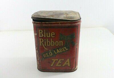 VINTAGE BLUE RIBBON RED LABEL TEA TIN KITCHEN ADVERTISING DECOR COFFEE SHOP