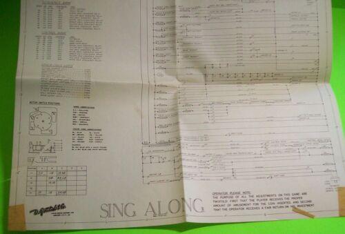 Sing Along Pinball Machine Wiring Diagram Schematic Original Gottlieb 1967